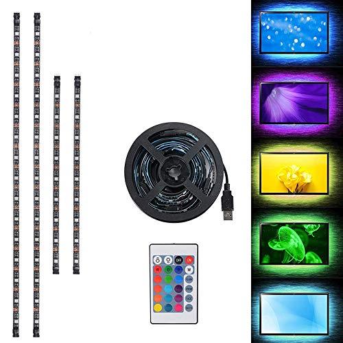 2 x 50cm + 2 x 30cm LED-TV-Hintergrundbeleuchtung USB betrieben, RGB Mehrfarben LED-Streifen-Lichter mit 24 Tasten Fernbedienung für 40-60in HDTV, Monitor & DIY Dekoration