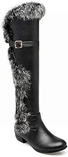 ZHRUI Stiefel para damen - Stiefel de Invierno Stiefel Antideslizantes cálidas Stiefel Stiefel hasta la Rodilla de tacón bajo más schuhe de Terciopelo   34-42 (Farbe   schwarz, tamaño   37)