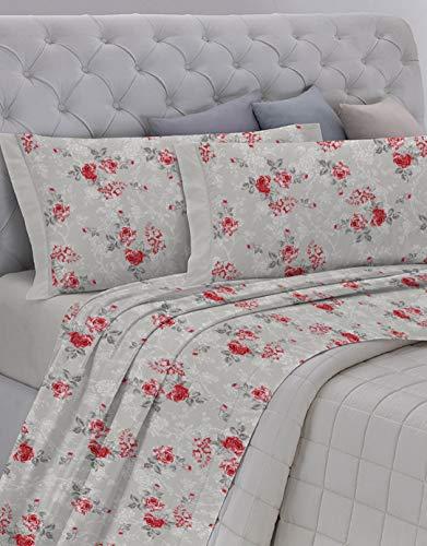 GEMITEX Juego de sábanas Fabricado en Italia de Franela de 100% algodón, para Cama de Matrimonio, línea Enjoy, diseño G15 Variante 13 Gris, con Tratamiento antipilling