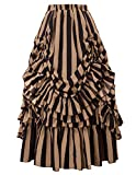 Belle Poque Plus Size Women's Gothic Steampunk Skirt Victorian Clothing for Women(3XL,Black & Khaki)