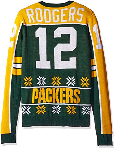 NFL Green Bay Packers Player Portrait Ugly Sweater, Aaron Rodgers, Large