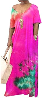 Doufine Womens Loose V-Neck Tie Dye Print Short Sleeve Casual Long Maxi Dress