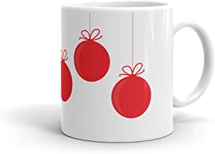 Christmas Ornament 6 Red Balls - Coffee Mug (11oz or 15oz) | PERSONALIZED Name Option + FREE SHIPPING Holiday Collection | Fun gift for the whole family mom dad kids children siblings grandma grandpa