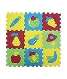 LUDI – Tapis de sol épais pour l'éveil de bébé – 1052 - puzzle géant aux motifs Fruits et Légumes – dès 10 mois – (set de 9 dalles)