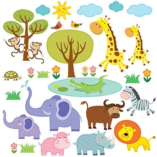DECOWALL DW-1508 Animaux Jungle Assortie Autocollants Muraux Mural Stickers Chambre Enfants Bébé Garderie Salon