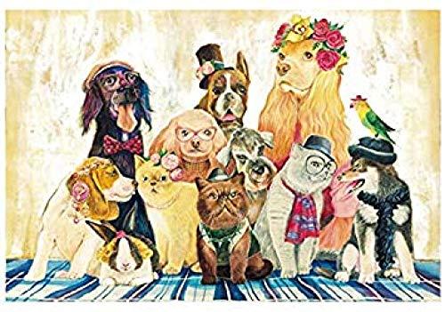 Yzqxiongtu Puzzel voor katten en honden 1000 stukjes, houten puzzel voor volwassenen, educatief puzzelspeelgoed voor kinderen