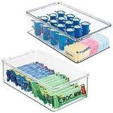 mDesign Juego de 2 cajas de nevera – Recipiente para guardar alimentos con tapa con bisagras – Cajas organizadoras de plástico inocuo para cocina y despensa – transparente