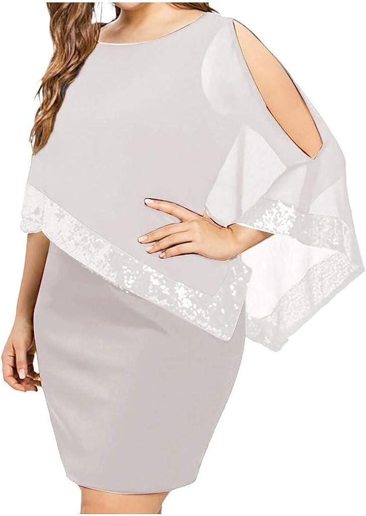 VWRXBZ Women Plus Size Dresses Bodycon Cold Shoulder Chiffon Cocktail Sequins Dress Wedding Guest