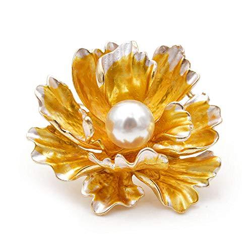PicZhiwenture Broche 7 Colores Disponibles Esmalte peonía para Mujer Gran Boda Flor Pin Nuevo diseño Abrigo joyería Regalo