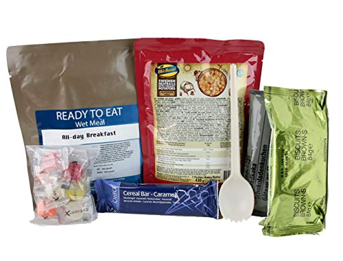 Ration-X All Day Ration Pack 2100 kcal Ready to Eat Wet Meals Dessert Plus Snacks Menu 2 All-Day Breakfast + Swedish Meatballs + Chocolate Cake