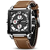 MEGIR Men's Analogue Army Military Chronograph Luminous Quartz Watch with Fashion Leather Strap for Sport & Business Work ML2061G (Brown)