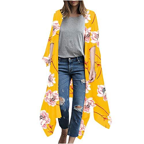 WERVOT Damen Sommer Boho Kimono Lang Strand Cardigan Leichte Strickjacke Beachwear Maxi Strandkleid 1/2 Hülse, Übergroß Elegant Blumen Druck Bikini Cover Up Pareos Strandponcho Tops(B6,L)