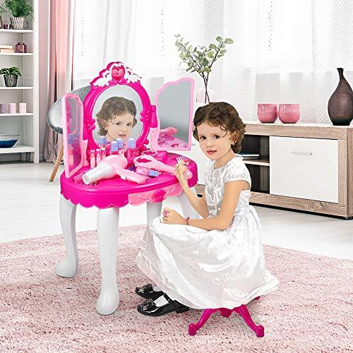 2-en-1 Vanity Dresser Glamorous Princess Vanity Set pour les filles Enfants maquillage tabouret de coiffeuse avec miroir banc sèche-cheveux et accessoires de maquillage pour cadeau d'anniversa