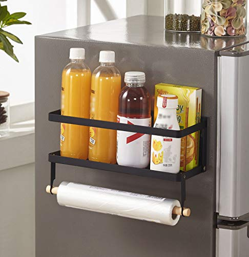 Estantería para especias para frigorífico, con imán, sin agujeros, magnética, plegable, 1 estante, color negro