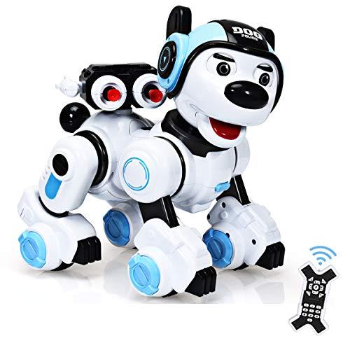 RELAX4LIFE Ferngesteuerter Roboter Hund, intelligentes Roboterhund mit Zielschießplattform, Programmierbarer Roboter Welpen, Singen & tanzen & blinken, Hundespielzeug für Kinder, RC Interaktiv