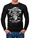 Neverless Herren Long-Sleeve Biker Motorrad Motiv Freedom is a full Tank Skull Totenkopf...