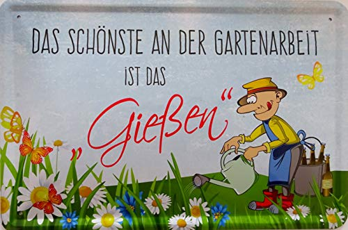 vielesguenstig-2013 Blechschild Schild 20x30cm - Das Schönste an der Gartenarbeit das gießen (2) Bier Feierabend