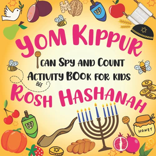 I Can Spy And Count Activity Book For Kids   Celebrate Tishrei Jewish Holiday Yom Kippur Rosh Hashanah: Fun Guessing Game With Dreidels Religious Jewish Symbols   Book For Kids Ages 2-5 Toddlers