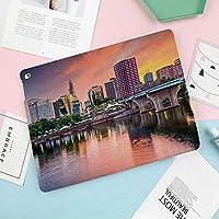 iPad Mini 5 2019 ケース レザー 合皮 スマート カバー シンプル 軽量柔らかな内側 キズ防止 二つ折り オートスリープ ウェイクアップ 機能 iPad Mini5(第五世代)専用 夜の街の水の反射ハートフォードコネチカット静かな夕日の装飾