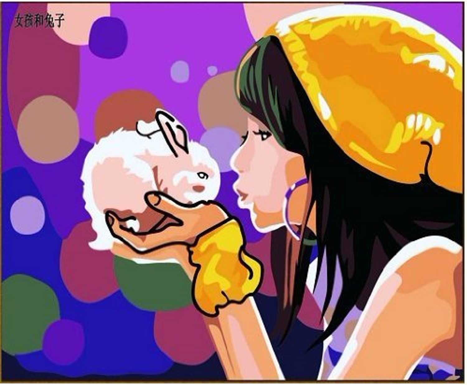 Diy oil painting, paint by number kit Girl and rabbit 1620 inch. by Colour Talk