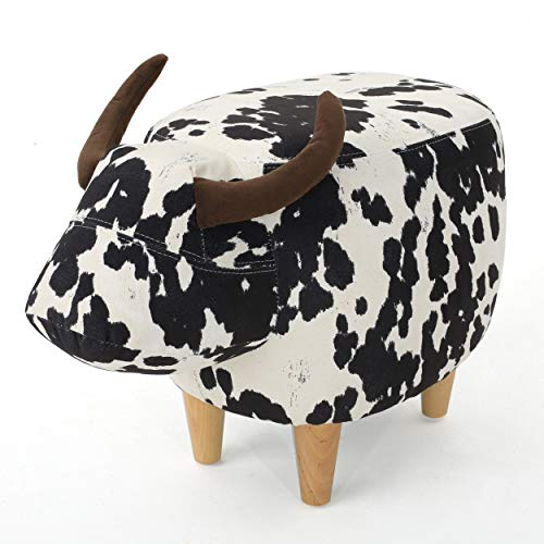 Christopher Knight Home Bessie Patterned Velvet Cow Ottoman, Black And White Cow Hide / Natural