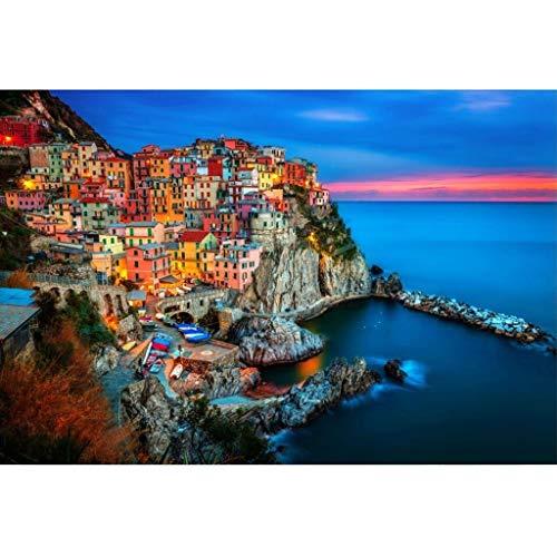 Italia Cinque Terre Puzzle, di Legno Paesaggio Poster, 500/1000/1500 Pezzo Boxed Jigsaw Puzzle Game Art Pittura Adulti e Bambini -1203 (Color : A, Size : 1500pc)
