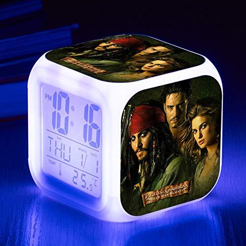 ShiyueNB kinderwekker met nachtkastje, 7 kleuren wisselen het nachtlampje voor kinderen, led-wekker, digitaal, grappig cadeau