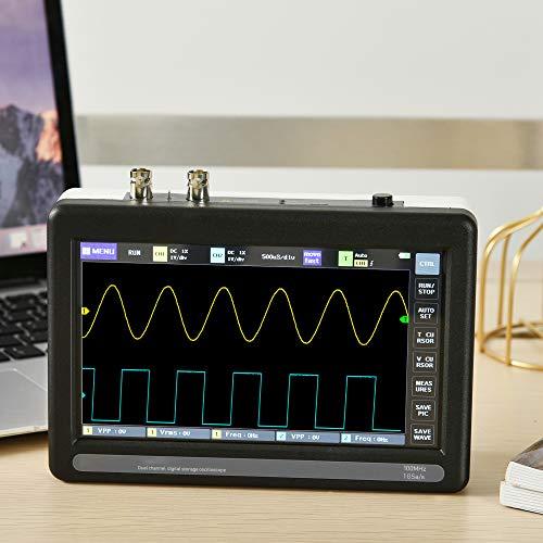 InLoveArts Osciloscopio digital 2 canales, Osciloscopio de tableta de 7 pulgadas Kit de osciloscopio de almacenamiento Con ancho de banda de 100 mhz y frecuencia de muestreo de 1 g