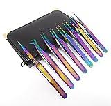 Set of 8 pcs High Precision Multi Rainbow Color Stainless Steel 3D 5D 6D Volume False Eyelash Extension Tweezers