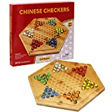 RNK Gaming Bamboo Wooden Chinese Checkers with Glass Marbles