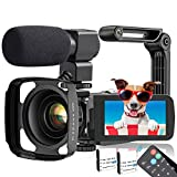 Video Camera, TLPUHU 4K Camcorder WiFi Ultra HD 48MP YouTube Camera for Vlogging, 3.1'' IPS Screen 16X Digital Zoom Video Camera with Microphone, 2 Batteries, Handheld Stabilizer(SD Card not Included)