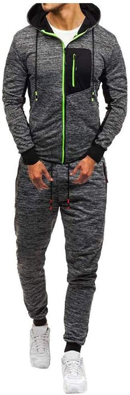 JVCY Herren Trainingsanzug Set, Jogging Trainingsanzug Jacke Und Hose Slim Fit