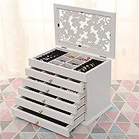 ホワイト/ブラウンマルチレイヤビッグ6床木製ジュエリーボックスジュエリー表示棺イヤリングリングボックスジュエリーオーガナイザーギフトボックス,A/brown