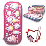Childrens School Pencil Boxes 3D Embossed Pen Case Unicorn Crayon Organizer Case with Scholl Supplies