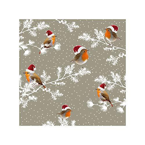 Susy Card 40003306 Tovagliolo Di Natale, Tessuto Stampato, 3 Strati, Confezione Da Pezzi, Motivo: Robin, 25 X 25 Cm,