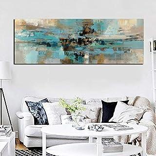 ganlanshu Pintura sin Marco Pintura al óleo Moderna Abstracta de Arte Azul Claro salón salón bellezaCGQ6911 63X189cm