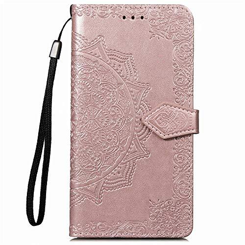 Ycloud PU Leder Tasche für ASUS Zenfone 2 ZE551ML Kunstleder Wallet Flip Case mit Standfunktion Kartenfächer Entwurf Mandala Prägen Rose Gold Hülle für ASUS Zenfone 2 ZE550ML