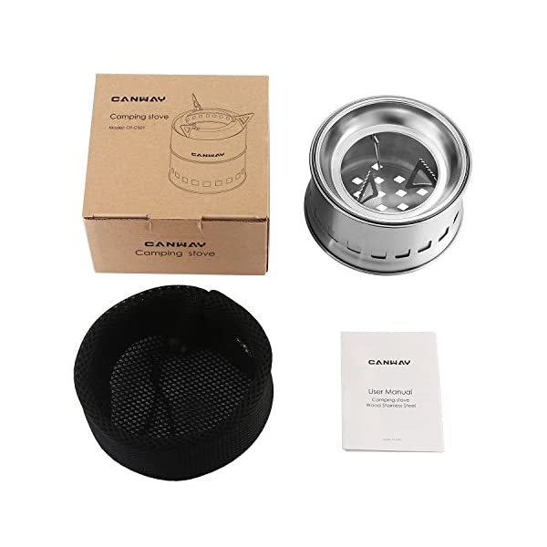 Canway Camping Stove, Wood Stove/Backpacking Stove,Portable Stainless Steel Wood Burning Stove with Nylon Carry Bag for…
