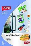 APLI 10245 Papel magnético imprimible 8 hojas, Blanco