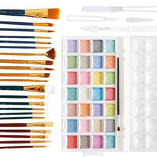 Fun, Kid Friendly Watercolor and Brush Set. 28 Pearlescent Pastel Colors and 22 Assorted Brushes with 3 Paint Knives. Perfect Art Kit for Crafts, Girls, Children, Boys, Painters, School and Classrooms