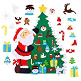FengRise Kit de árbol de Navidad de Fieltro DIY con 21 Piezas de Adornos navideños Desmontables, árbol de Navidad de Fieltro de Abrazo de Papá Noel no Tejido de 3.3 pies para decoración navideña