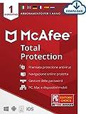 McAfee Total Protection 2021, 1 Dispositivo, 1 Utente, 1 Anno, PC/Mac, Codice d'Attivazione via Email