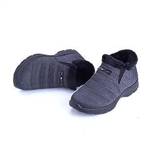 Warm Shoes Loafers Faux Sheepskin Waterproof Anti-Slip, Luxury Fleecy Lined, Slippers Mens Ladies Slippers, High Density Winter Cotton Warm (Color : Gray, Size : 43)