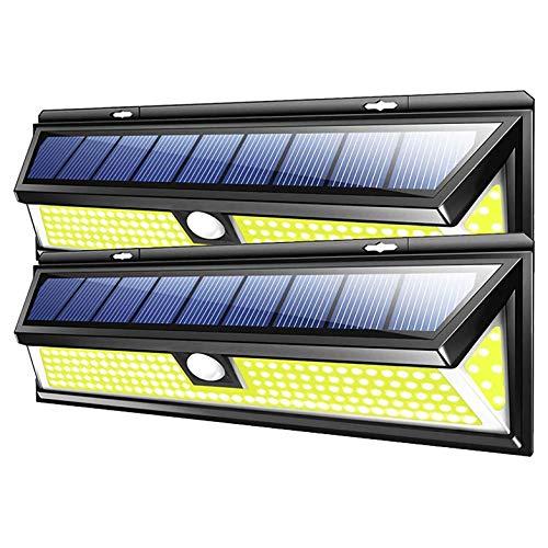 YUYANDE Aplique de pared solar, sensor de movimiento Lámpara de pared con energía solar a prueba de agua con control remoto 180 LED Iluminación de seguridad al aire libre para porche, jardín, camino d