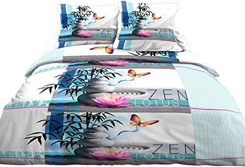 Housse de Couette 220x240 + 2 taies Pur Coton 57 Fils Zen Lotus Bleu