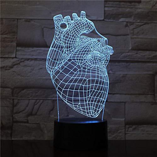 Veilleuse 3D-Heart-Remote Veilleuse Illusion 3D/Lampe De Chevet Enfant/Éclairage Intérieur/Lampe De Table Et Lampe De Chevet/Cadeau Enfant