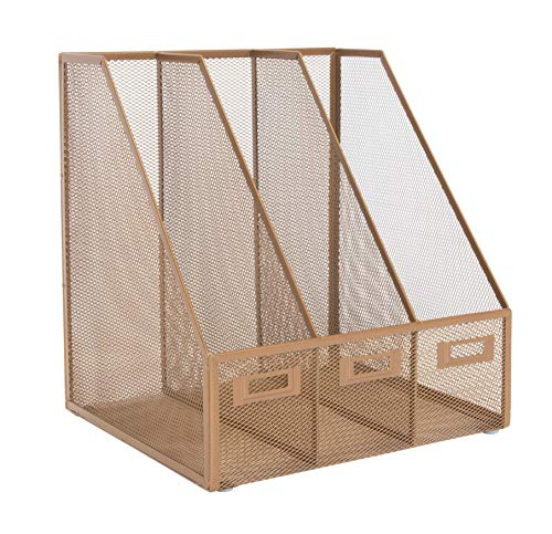 Osco MR3-RG Wire Mesh Triple Magazine Rack - Dark Rose Gold