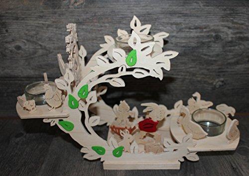 Osterhasen Frühlingsdekoration aus Holz für 3 Kerzen