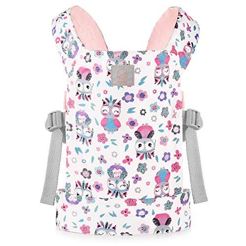 GAGAKU Puppentrage für Front und Rücken Kuscheltiertrage für kleine Mädchen - Rosa (Eule)