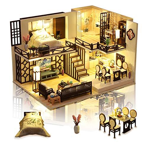 Cuteefun Miniature Casa delle Bambole con Musica e Mobili, Bricolage Creativo Adulti, Casa in Miniatura Fai da Te da Costruire, Regalo Compleanno per Le Donne, Bel Momento